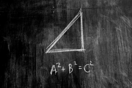 teorema: Teorema de Pit�goras en la pizarra Foto de archivo