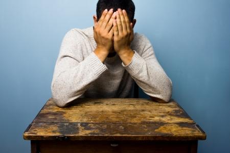 ashamed: El hombre en el mostrador de la cara palming