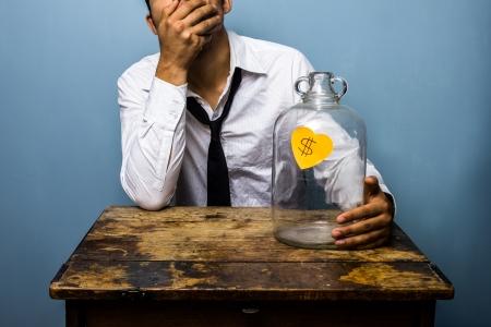 spent: Bankrupt businessman is in despair