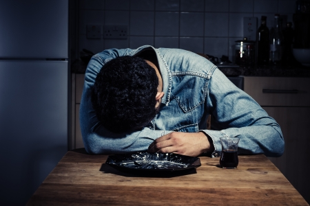 unmarried: Sad and lonely man has just finished his dinner