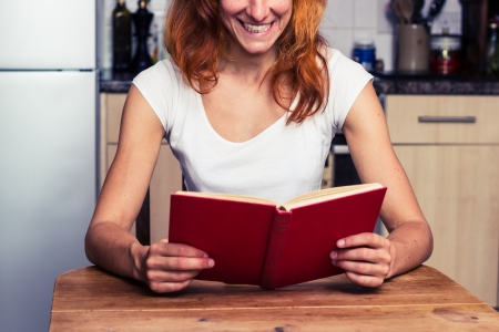 Happy young woman is reading in her kitchen Stock Photo - 21923923