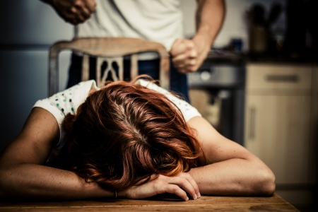 Crying woman is victim of domestic violence photo