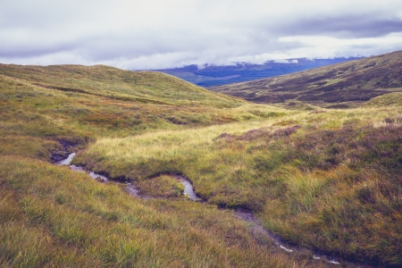Small stream flowing through mountain landscape photo