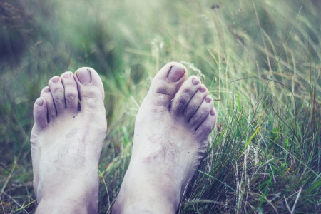 completely: Man s feet have gone completely pale from being wet and cold