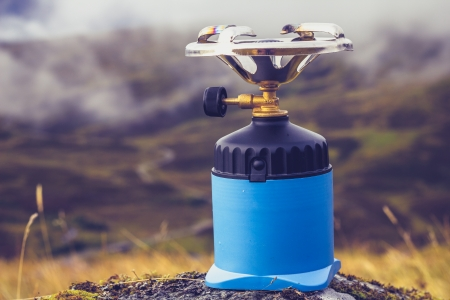 Camping stove in the mountains Stock Photo