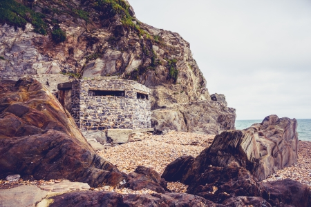 Old world war two bunker on the beach Stock Photo - 23527184