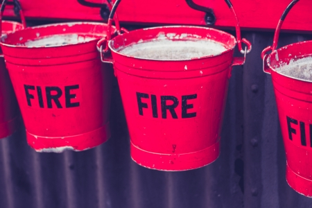 extinguish: Red fire buckets