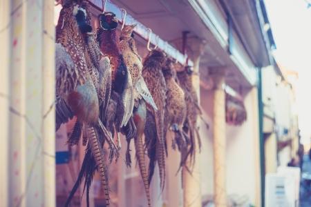 dead duck: Pheasants hanging outside a butcher s shop Stock Photo