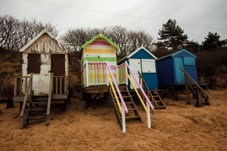 Beach huts on an autumn day photo