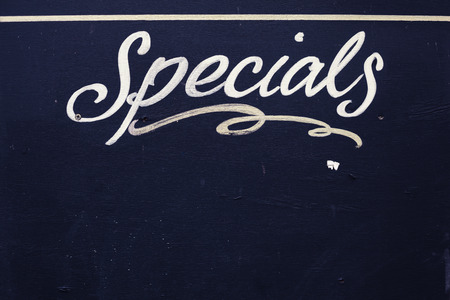 specials: Specials board made of wood and painted black