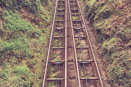 lynton: Cliff rail on a hill with bushes