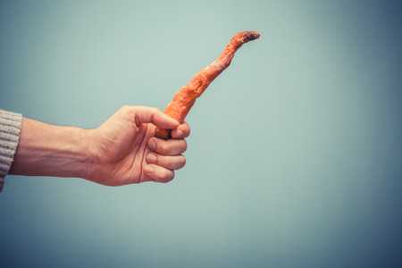 A hand is holding a rotten carrot photo