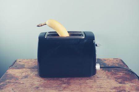 banana bread: A banana in a toaster