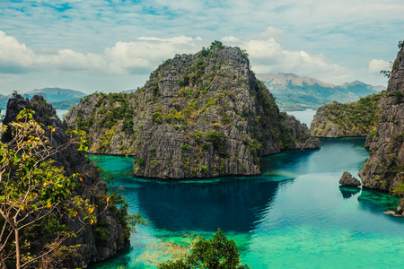 View of the cove at Kayangan lake in Coron, Philippines which is considered the cleanest lake in Asia Reklamní fotografie
