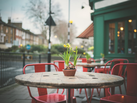 cafe table: A table decorated with lillies outside a cafe in the street on a winters day