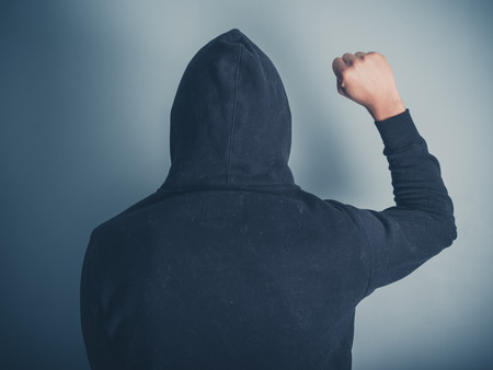 allegiance: Rear view shot of a young man in a hooded top raising his fist in the air