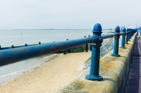 railing: A rusty old railing by the seaside