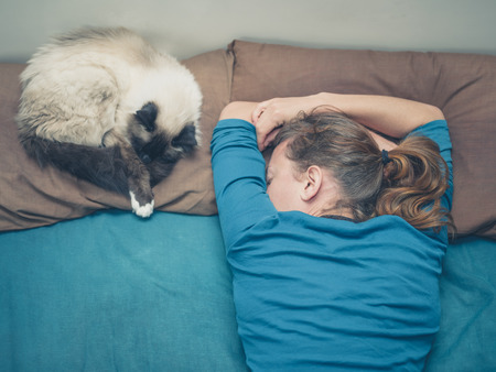 domestic animals: A young woman is sleeping in a bed with a cat next to her Stock Photo