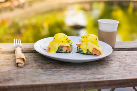 morning breakfast: A plate with eggs benedict made with salmon and hollandaise sauce on a table by a pond in the park
