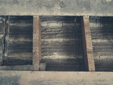 housebuilding: Exposed floor joists in a rom that is getting the floor boards replaced Stock Photo