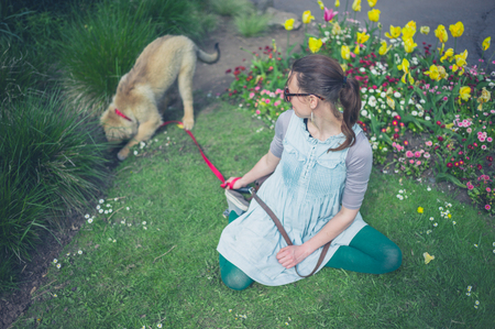 flowerbeds: A young woman is sitting on the grass in a park with her Leonberger puppy digging in the flowerbeds