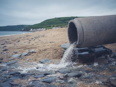 sewage: A large sewage pipe on the beach