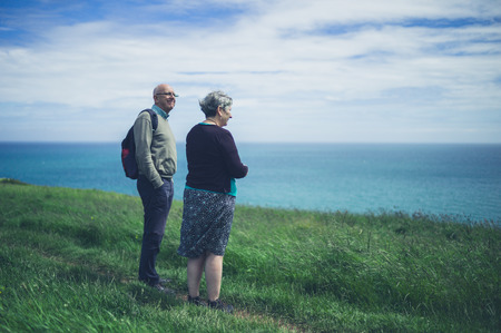 A senior couple is by the seaside on a cliff admiring the scenery