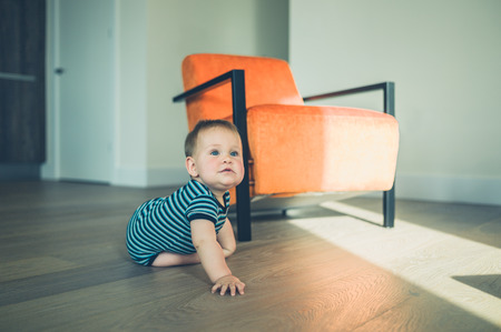 modern living room: A cute little baby is crawling around a modern apartment in the sunslight