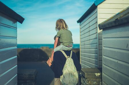 A little toddler is riding on his mothers shoulders by the sea
