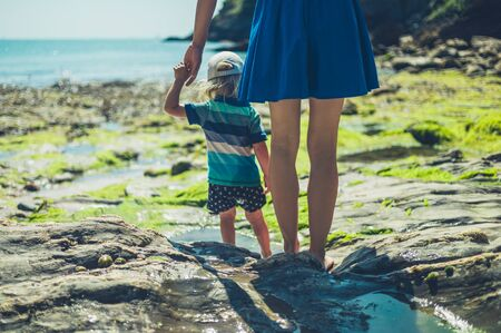A young mother is walking on a rocky beach with her toddler on a sunny summer day Zdjęcie Seryjne
