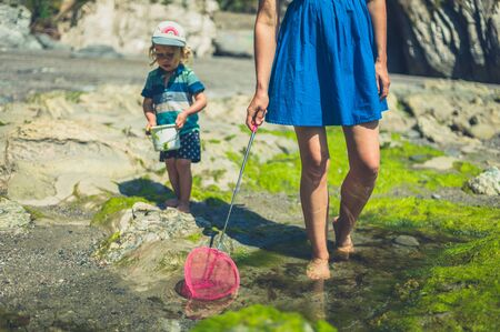 A young mother and her toddler are walking on the beach with a net