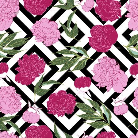 牡丹の花と美しいシームレスなベクトル トロピカル花柄背景です。抽象的な正方形の幾何学的なテクスチャー。折り返し、招待状、パーティー、ビ