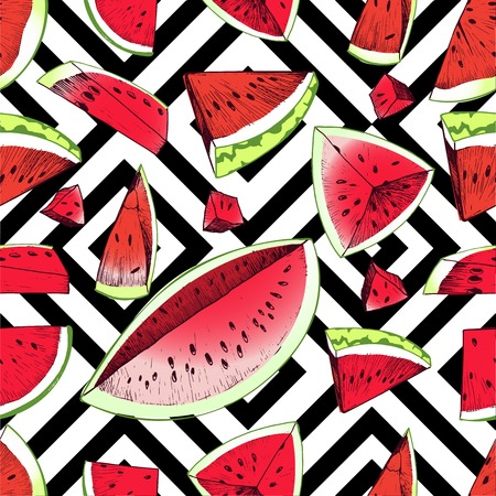favorite colour: seamless pattern of watermelon slices isolate on black and white square geometric texture. Hand drawn summer color illustration. Vibrant red and green.