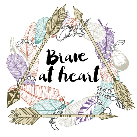 Vector illustration of 3 arrows, making the delta and feather wreath. Decorated with lettering quote. Be brave. Hand drawn color boho chic illustration.
