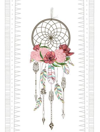 Vector hand getrokken illustratie van dreamcatcher. Traditionele boho chic romantische decoratie, met Azteekse pijlen, veren en bloemen.