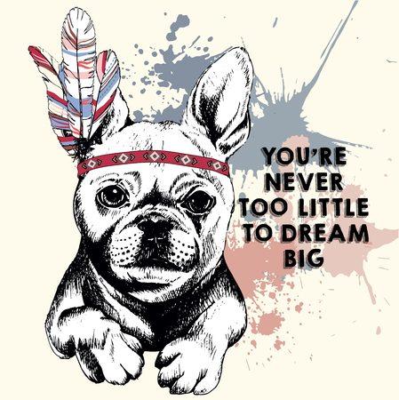 Vector retrato de cerca de bulldog francés, que lleva el casco de plumas indio. Dibujado a mano ilustración perro mascota doméstica. Aislado en el fondo de la rosa con manchas de colores pastel. Ilustración de vector