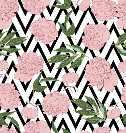 clothe: Beautiful seamless vector floral tropical pattern background with peony blossom. Abstract angled strip geometric texture. Use for wallpaper, wrapping, invitation, party, beach, clothe, fashion Illustration