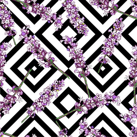 rhomb: Beautiful seamless vector floral tropical pattern background with lavender blossom. Abstract rhomb square geometric texture. Use for wallpaper, wrapping, invitation, party, beach, clothe, fashion Illustration