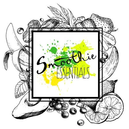 デトックス スムージーへの青果物のベクトルを設定します。正方形のテキスト テンプレート。ベジタリアンの健康手描きイラストを扱います。バー