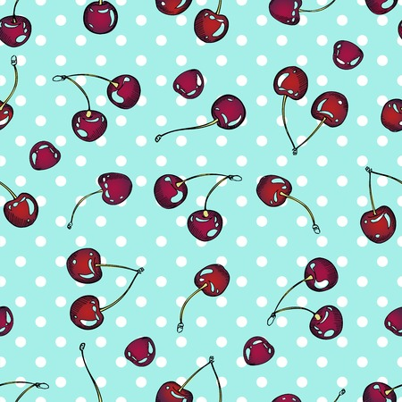 Vector seamless pattern of cherry berries. Repeatable hand drawn color red summer berry illustration. Isolated on ocean blue polka dot background. Illustration
