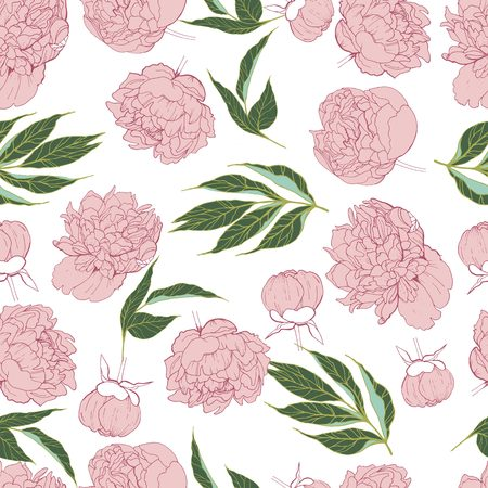 pantone: Vector seamless pattern of peony blossom in trendy pantone  colour rose quartz. Hand drawn floral. Use for backgrounds, wrapping papper, wallpapper, print for greeting card, invitations, wedding. Illustration