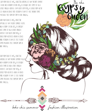headpiece: Vector fashion illustration of bohemian woman with headpiece of leaves and peonies. Decorated with traditional boho geometry and arrows. Trendy boho chic color. Gypsy Queen.