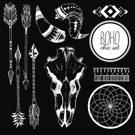 antler: Vector Boho chic set of goat skull, tribal arrows, horn, antler, dreamcatcher and traditional bohemian geometry. Isolated on black background.