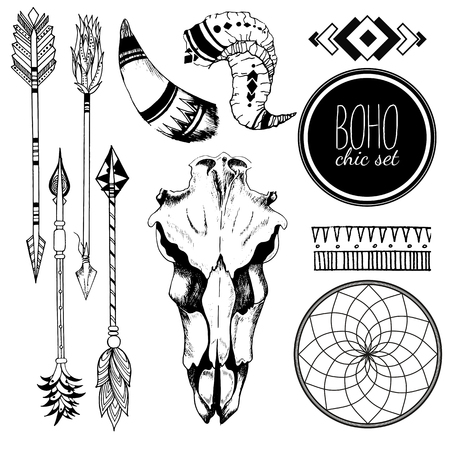 Vector Boho chic set of goat skull, tribal arrows, horn, antler, dreamcatcher and traditional bohemian geometry. Isolated on white background. Illustration