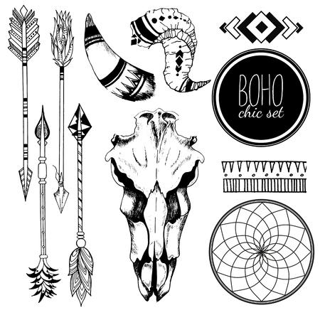 animal skull: Vector Boho chic set of goat skull, tribal arrows, horn, antler, dreamcatcher and traditional bohemian geometry. Isolated on white background. Illustration