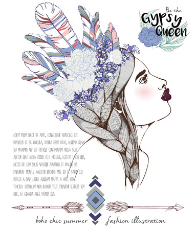headpiece: Vector fashion illustration of bohemian woman with headpiece of feathers, lavender and peonies. Decorated with traditional boho geometry and arrows. Trendy color Rose quartz and Serenity. Gypsy Queen.