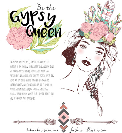 female shaman: Vector fashion illustration of bohemian woman with headpiece of feathers and peonies. Decorated with traditional boho geometry and arrows. Trendy color Rose quartz. Gypsy Queen.