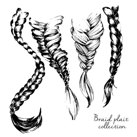 Vector illustration of braid set. Four part hand drawn set of binding hairstyles. Isolated on white background.