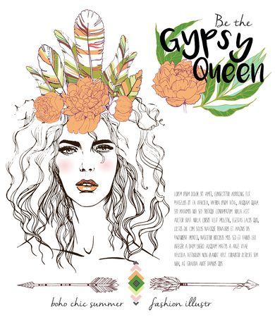 gypsy: Vector fashion illustration of bohemian woman with headpiece of feathers and peonies. Decorated with traditional boho geometry and arrows. Gypsy Queen.