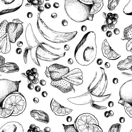 ingradient: Vector seamless pattern of sketched fruitd. Hand drawn engraved avocado, banana, strawberry, dates, lemon, lime, orange, blueberry. Smoothie and cocktail ingradients in repeating mode.